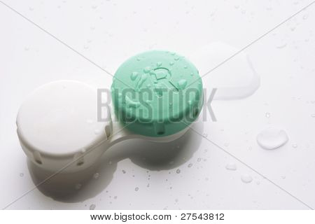 Contact lens case on white background