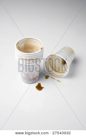 Used plastic cups, isolated on white