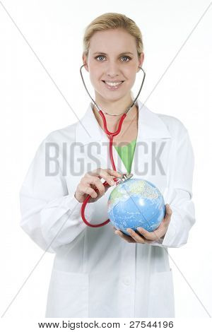 Female doctor listening to the Earth with stethoscope