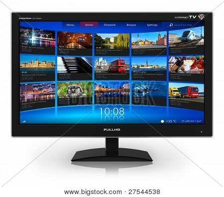 Widescreen TV with streaming video gallery