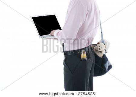 Businessman with laptop and Concept: multi-tasking, modern man