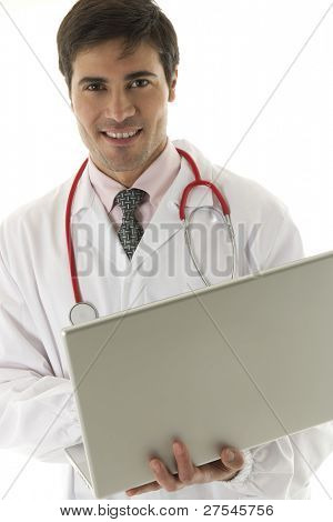 Doctor working on his laptop