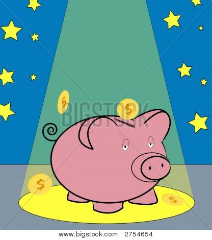 Piggy Bank W Coins In Spotlight