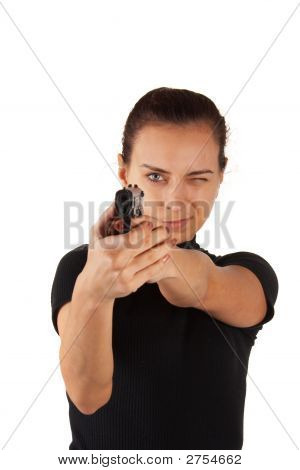 Cute Girl With Pistol. Isolated.
