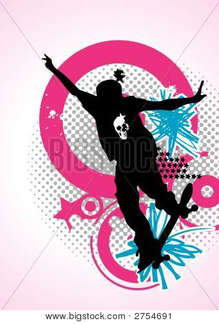 Stylish Vector Skater With Graffiti Tags Magenta & Cyan