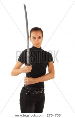 Cute Young Woman With Sword. Isolated.