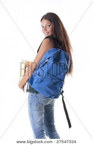 Female student carrying a heavy schoolbag