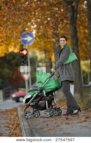 Mother with baby carriage