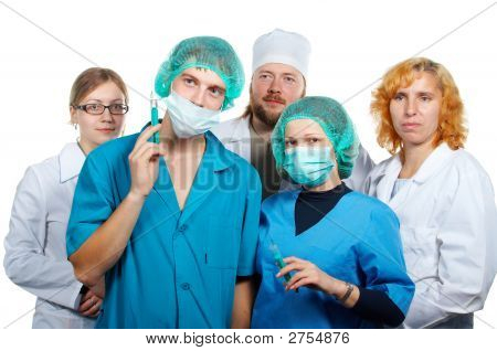 Doctors Teamwork. Isolated.