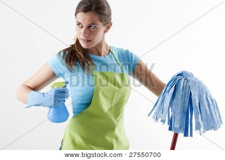 Crazy Housewife Ready To Fight With Spray Bottle and Mop