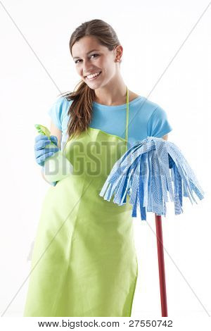 Happy Woman With Mop and Spray Bottle, White Background