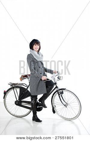 Fashion Woman With Bicycle