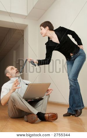 Sexy Secretary Manipulates A Boss.