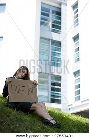 Unemployed Young Woman Asking For A Job
