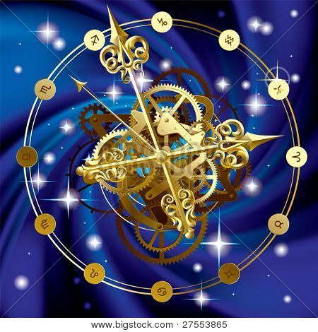 Isolated raster version of vector image of gold round clock with decorative hour hands, cogwheels and zodiacal symbols on starry sky (contain the Clipping Path)