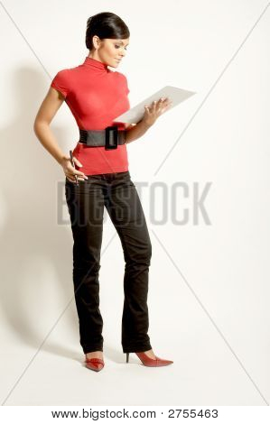 Businesswomen With  Clipboard