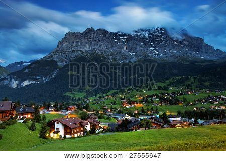 Grindelwald Village and Eiger Peak, Switzerland