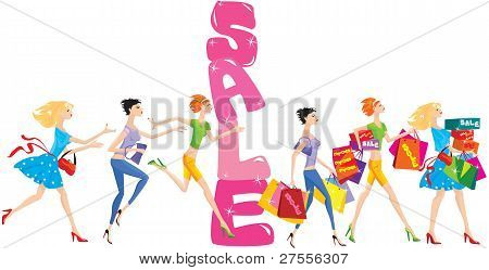sale cartoon with group of funny girls in shopping time