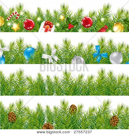 4 Border With Christmas Tree Set, Isolated On White Background