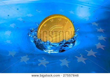 Euro coin falling to the water. Business metaphor.