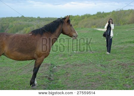 Female making a shot of a horse