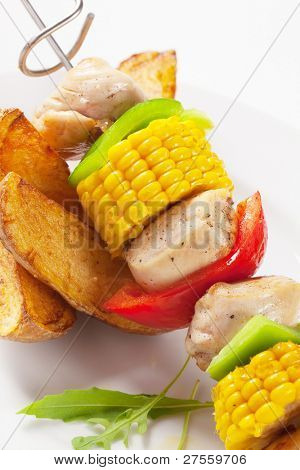American potatoes with meat and corn