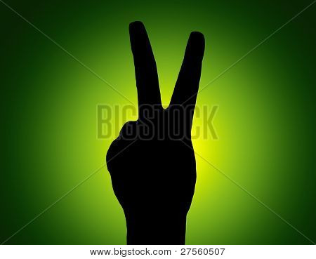 Silhouette Piece Hand On Green Colored Background