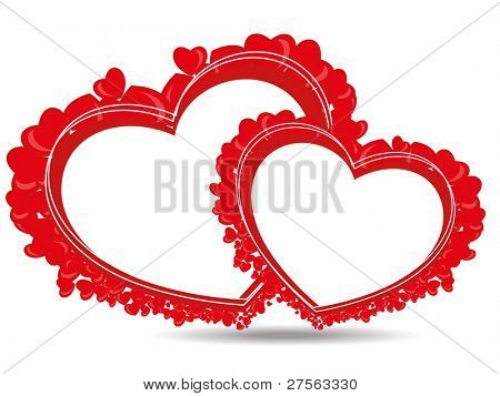 beautiful heart shape made with small hearts with copy space on white background for Valentine Day.