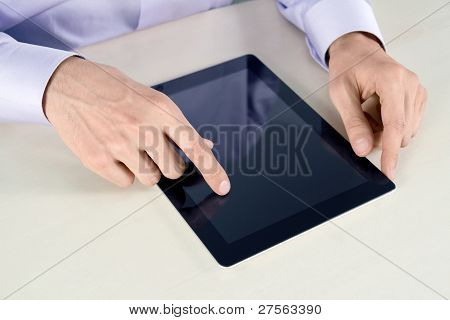 Businessman Touching On Tablet PC