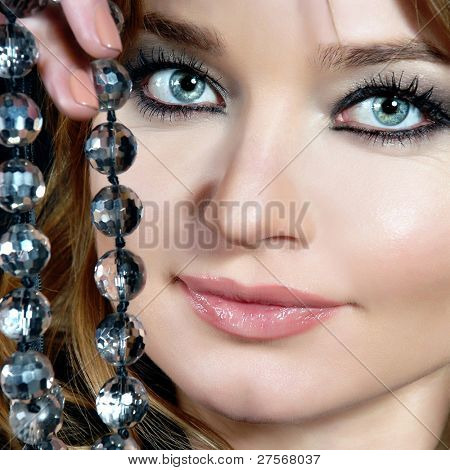 Beautiful woman with pearl jewelry