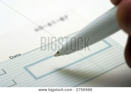 Close Up Of Blank Check