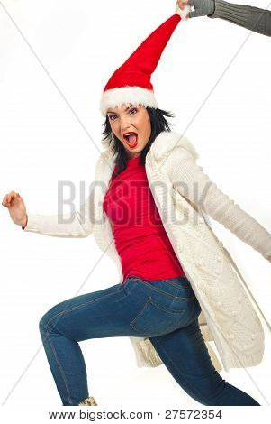 Running  Christmas Woman Is Stopped By A Hand