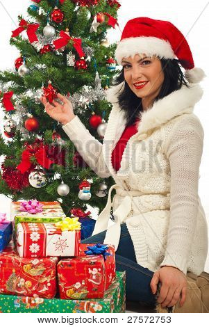 Happy Woman  By Christmas Tree With Gifts