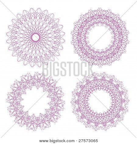 Set of vector pink guilloche rosettes