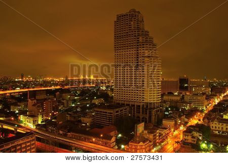 Night Cityscape view over Bangkok, Thailand