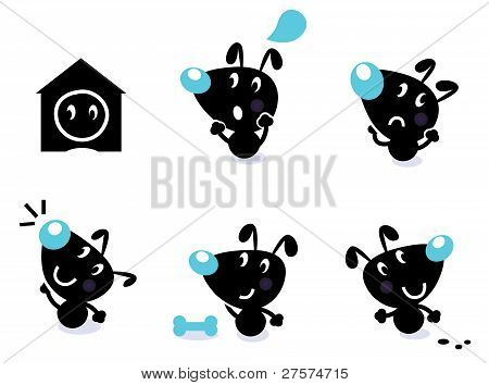Cute Dog Collection - Vector Elements Isolated On White