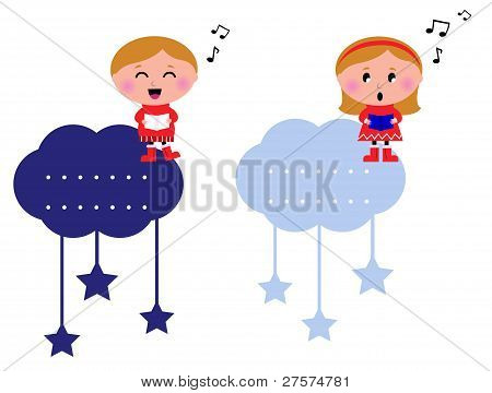 Singing Christmas Kids Tags Isolated On White