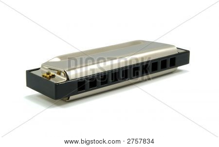 Harmonica Isolated On White