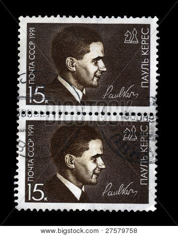 Ussr - Circa 1991: Cancelled Stamp Printed In Ussr, Shows Famous Soviet Chess-player Paul Keres, Cir