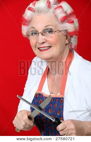 Old lady with hair rollers