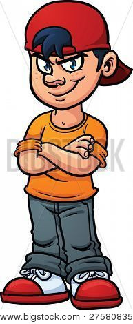 Cartoon kid with an evil smile. Vector illustration with simple gradients. All in a single layer.