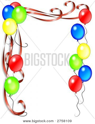 Birthday Balloons And Ribbons Invitation Background