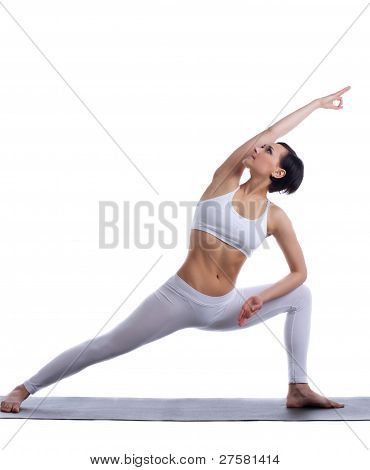beauty woman stand in yoga pose isolated