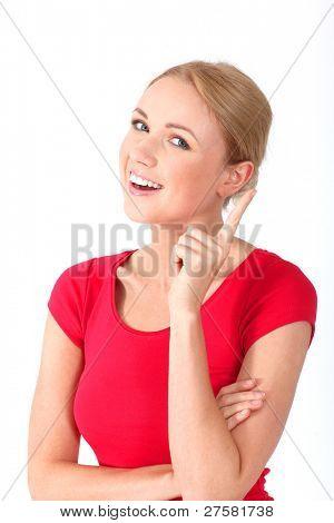 Retrato de mujer hermosa rubia con mirada interrogativa