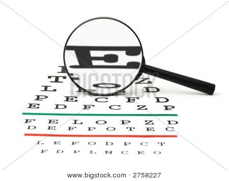 Magnifier On Eyesight Test Chart