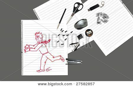 Sketch Of Office Man Running Away From Stationary