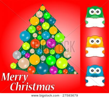 Christmas greeting card with cute owls