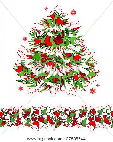 Christmas traditional tree and seamless border.Raster version