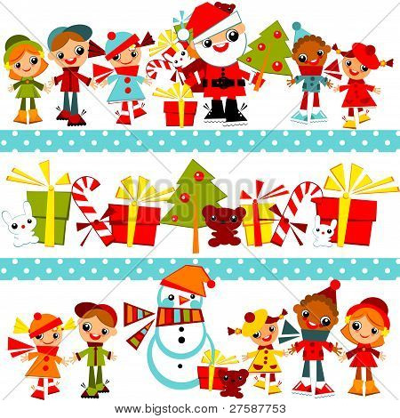 Christmas background with set kids