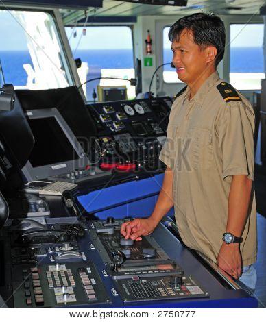 Navigation Officer Manages Autopilot